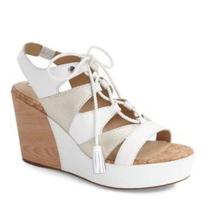Geox Jaleah Platform Wedge Sandal White Size 6